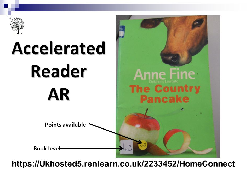 Accelerated Reader AR AR – begins in year 3 – ch. work through this during the rest of the schooling.