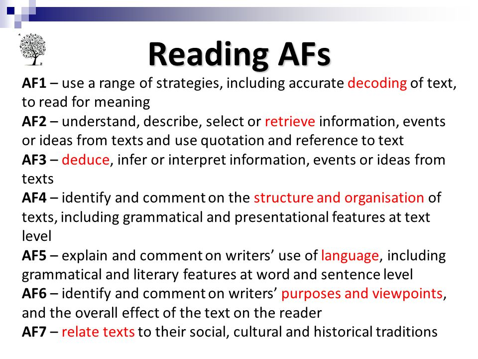 Reading AFs AF1 – use a range of strategies, including accurate decoding of text, to read for meaning.