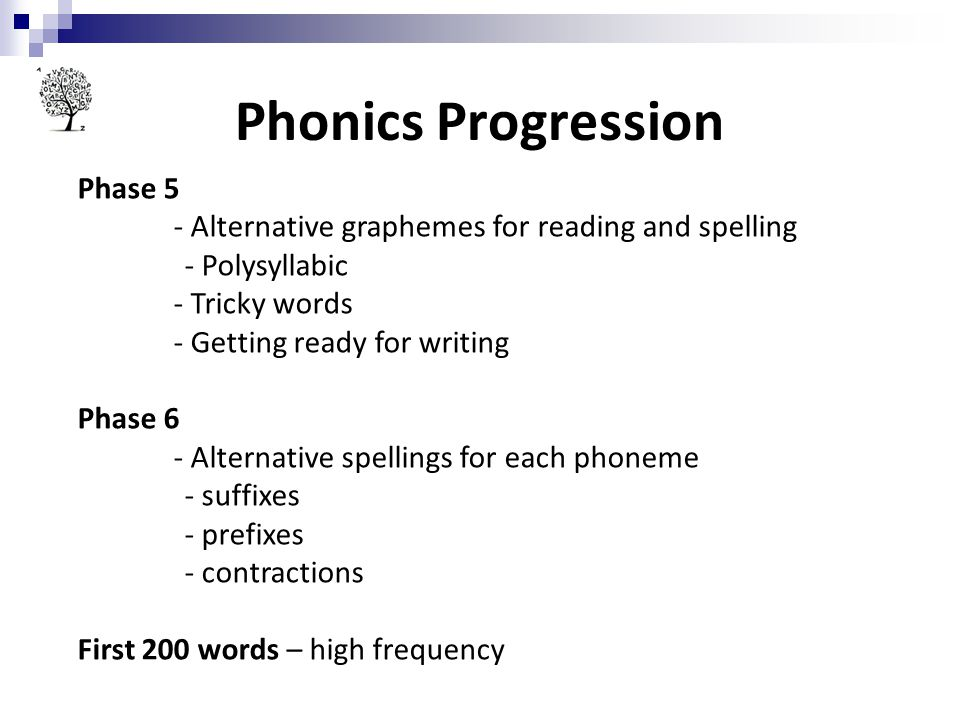Phonics Progression Phase 5