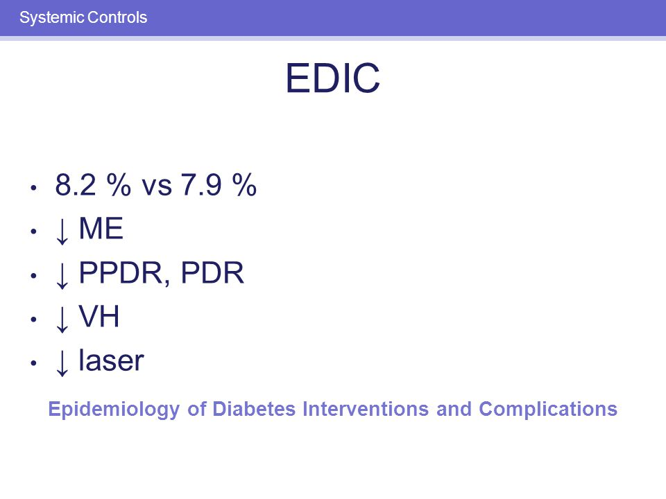 Systemic Controls UKPDS: TYPE 2 DIABETES.