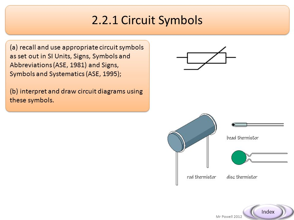 2.2.1(a) recall and use appropriate circuit symbols as set .