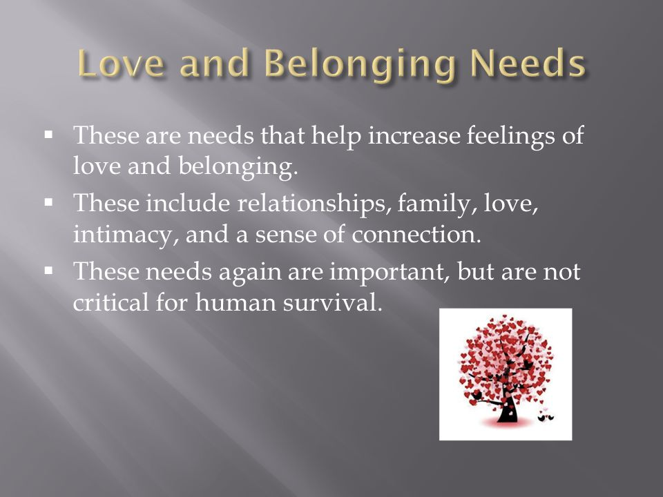 Love and Belonging Needs