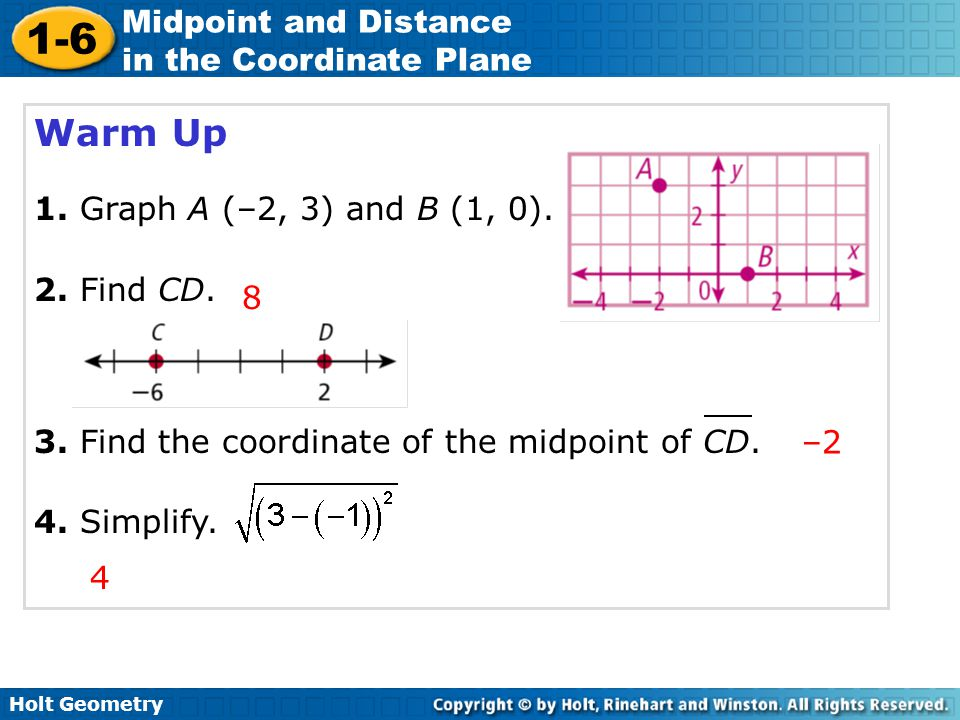 1 6 midpoint and distance in the coordinate plane warm up ppt download. Black Bedroom Furniture Sets. Home Design Ideas