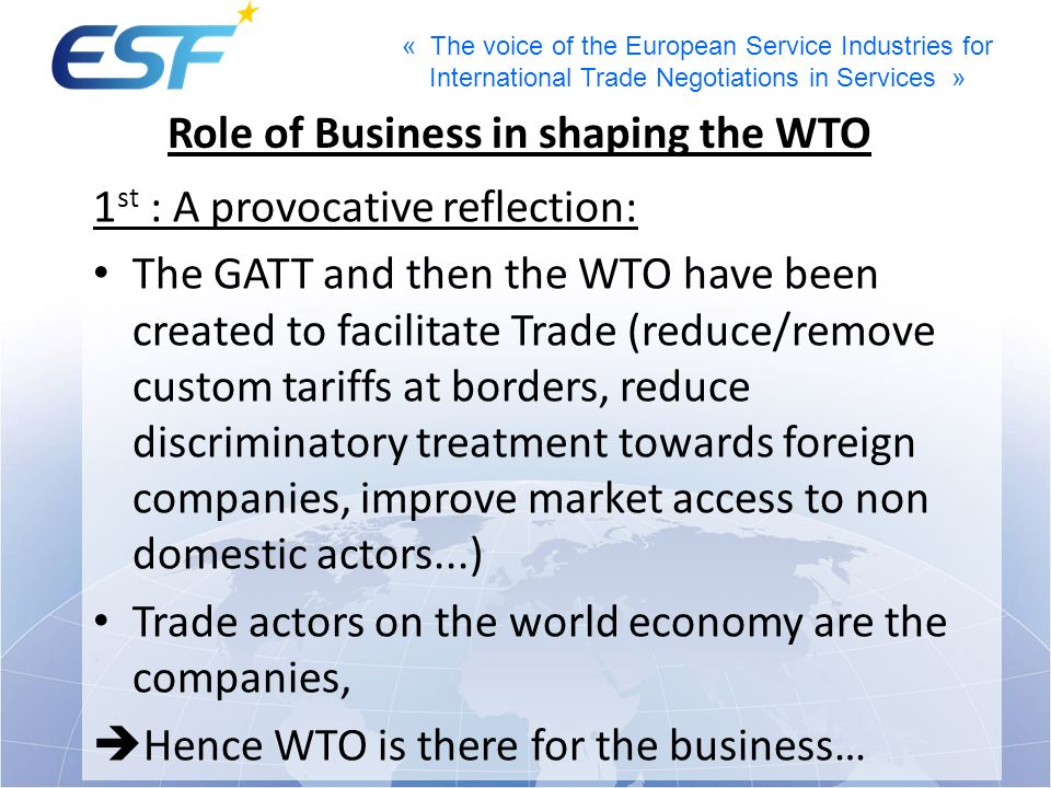 Role of Business in shaping the WTO