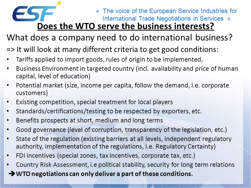 Does the WTO serve the business interests
