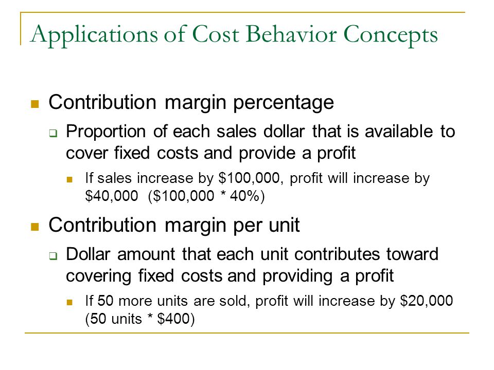 What percentage of the contribution margin is profit on units sold in excess of the breakeven point