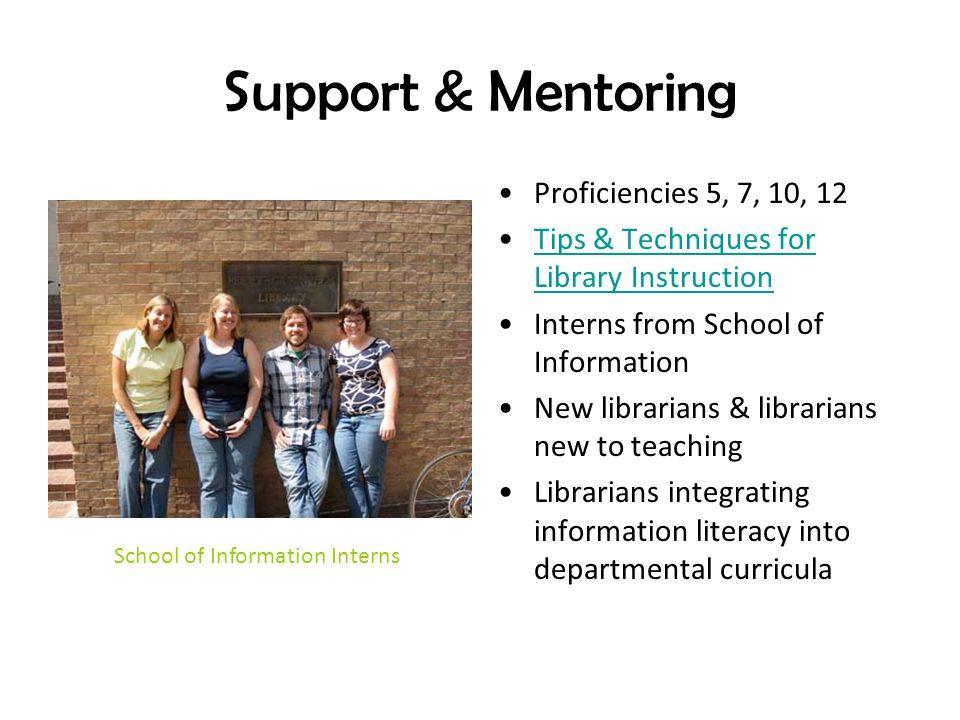 Support & Mentoring Proficiencies 5, 7, 10, 12