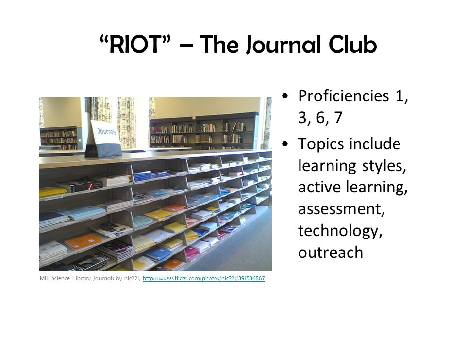 RIOT – The Journal Club