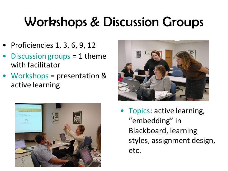 Workshops & Discussion Groups