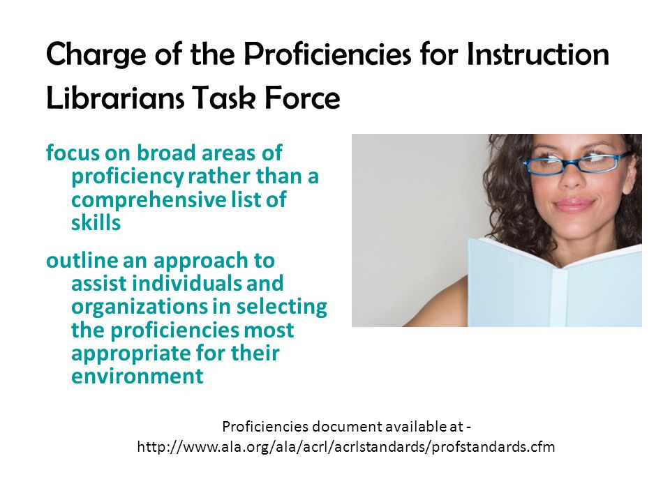 Charge of the Proficiencies for Instruction Librarians Task Force