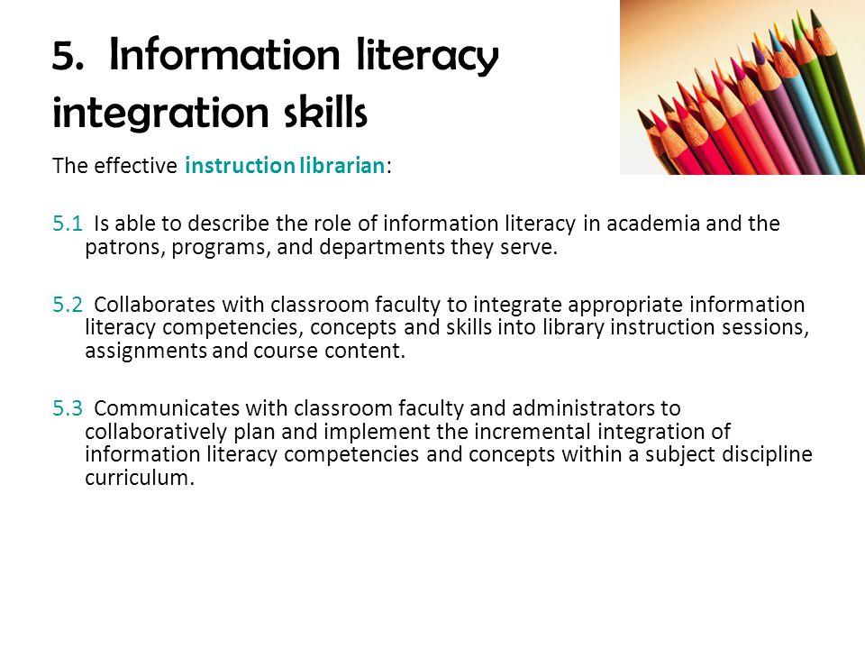 5. Information literacy integration skills