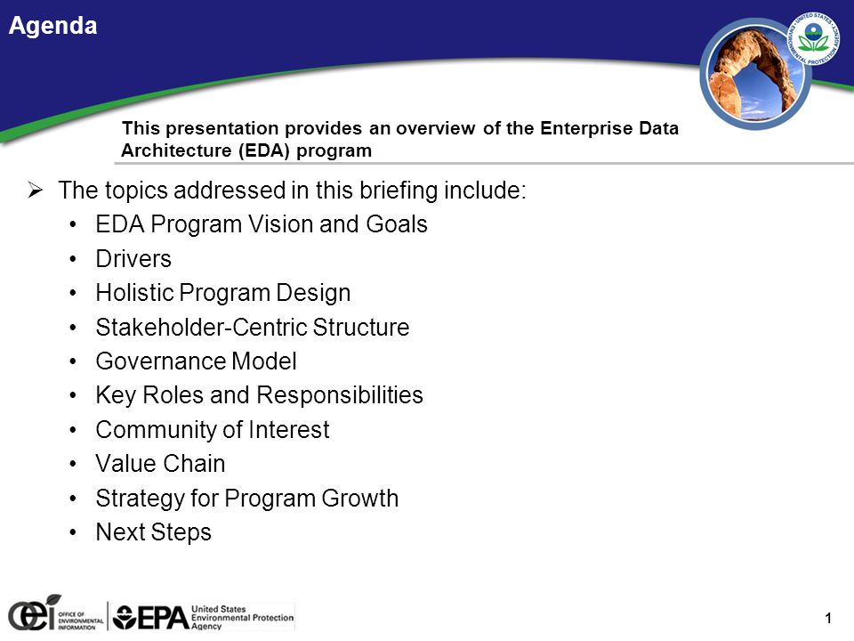 EDA Program Vision and Goals EPA's approach to the program