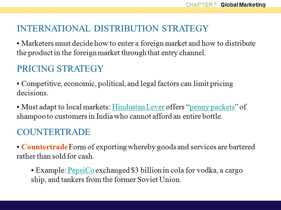 pricing strategies for entering both the domestic and international markets To show how to develop strategies based on competitive analysis  to gain entry into the international market without knowledge of the industry or competitors.