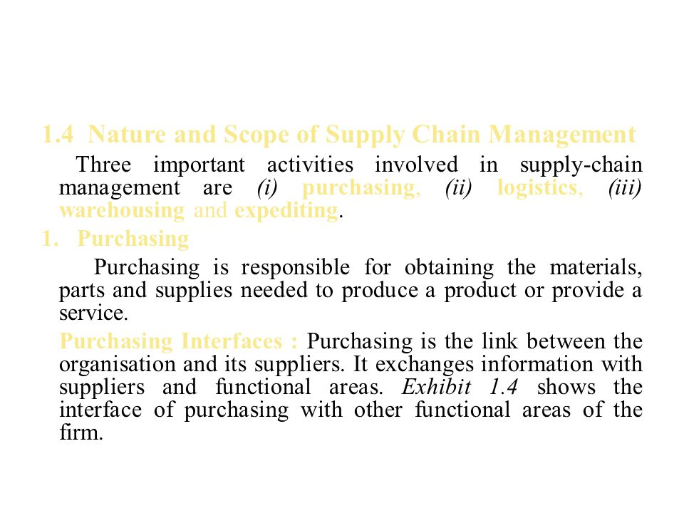 1.4 Nature and Scope of Supply Chain Management
