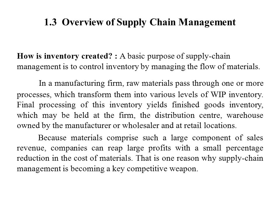 1.3 Overview of Supply Chain Management