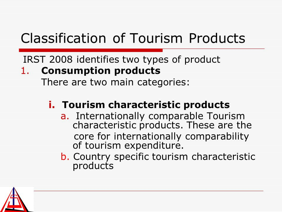 Classification of Tourism Products