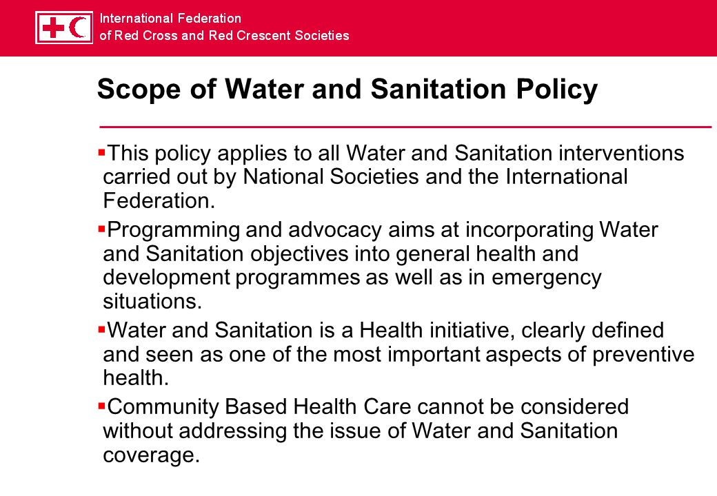 Scope of Water and Sanitation Policy