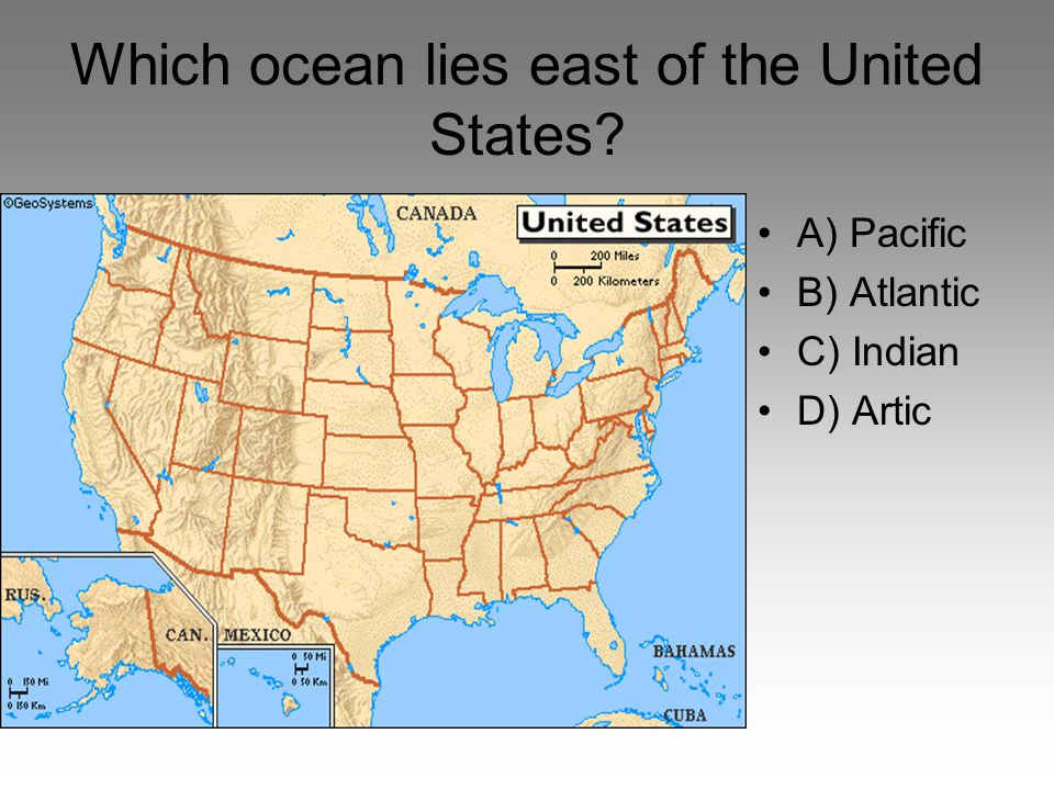 Which Ocean Lies East Of The United States