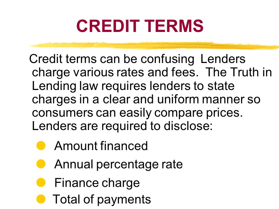CREDIT TERMS  Amount financed  Annual percentage rate