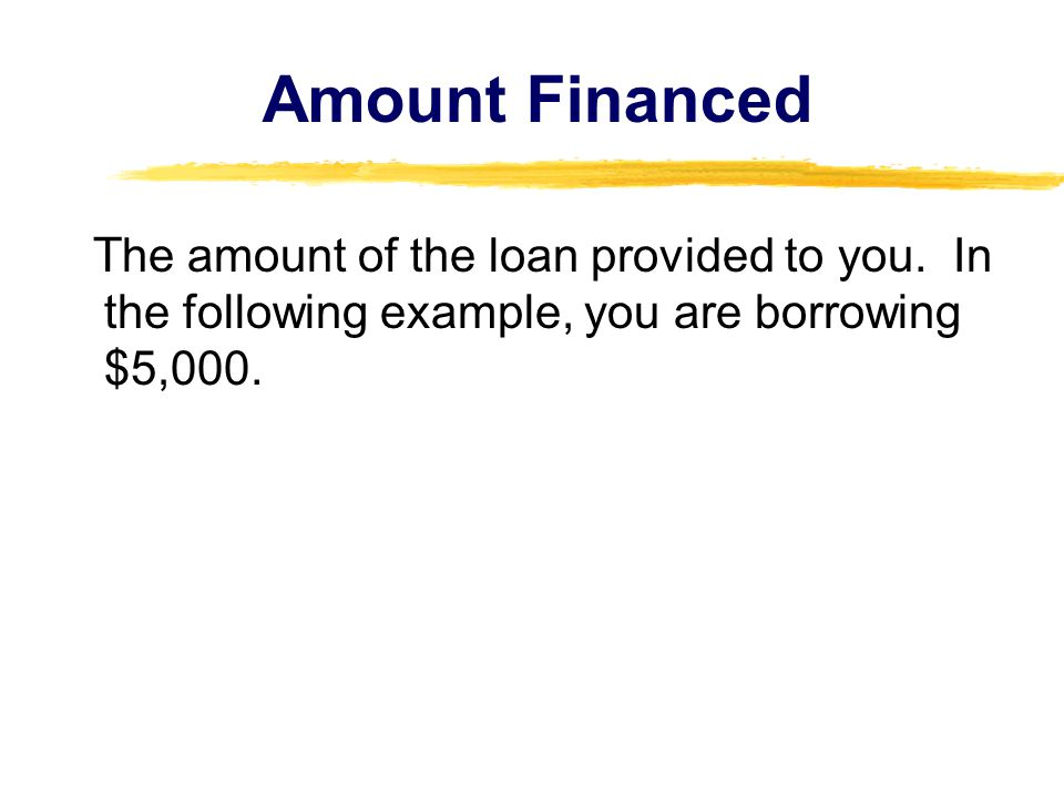 Amount Financed The amount of the loan provided to you.
