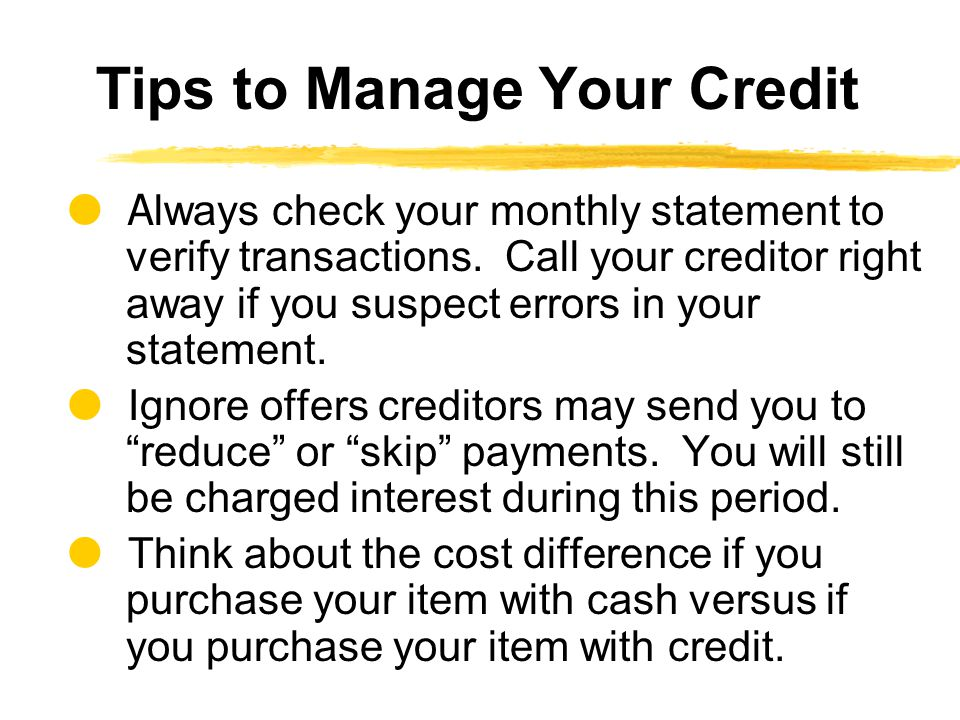 Tips to Manage Your Credit