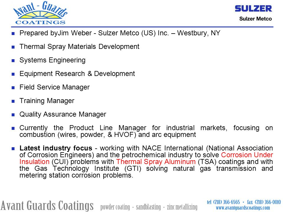 Thermal spray coatings of zinc and aluminum zinc metallizing ppt prepared byjim weber sulzer metco us inc westbury ny sciox Choice Image