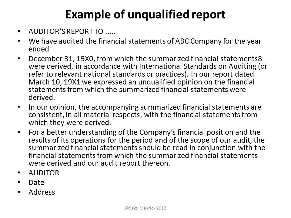 Audit Report Example  BesikEightyCo