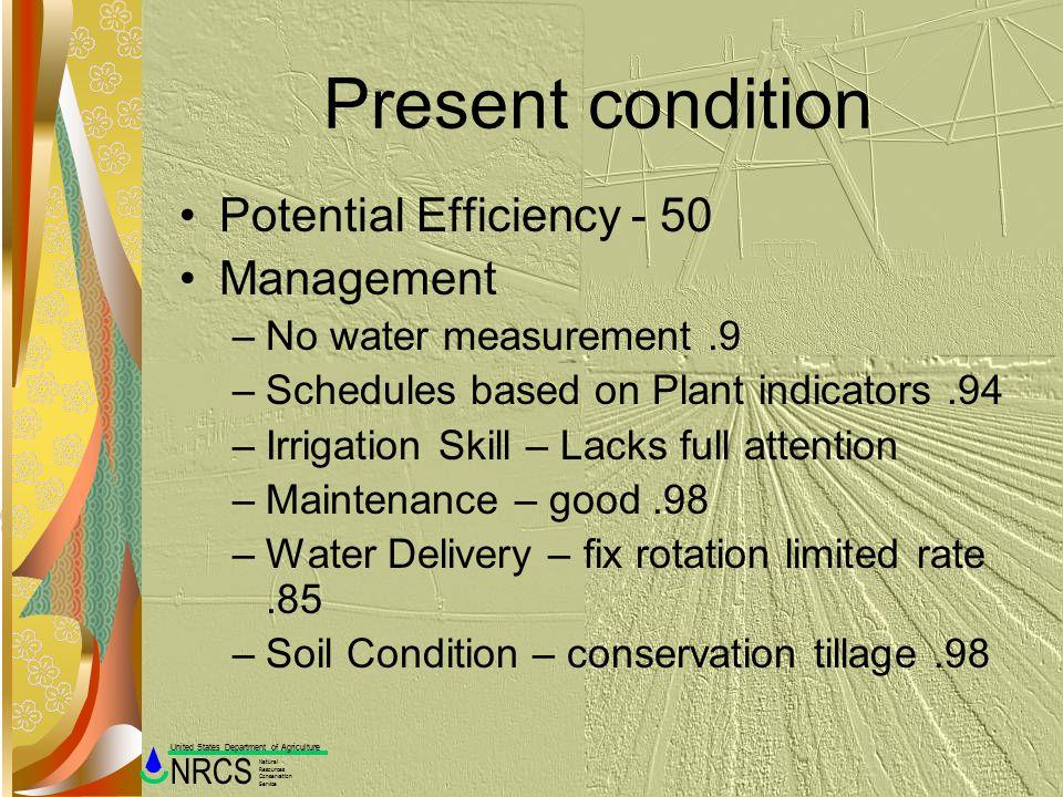 Present condition Potential Efficiency - 50 Management