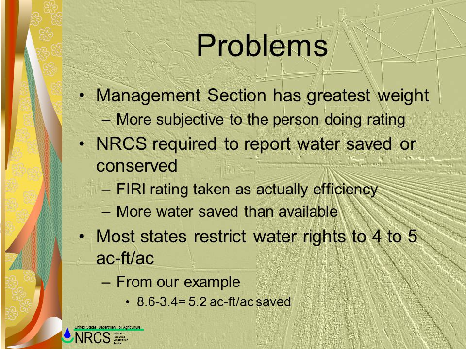 Problems Management Section has greatest weight