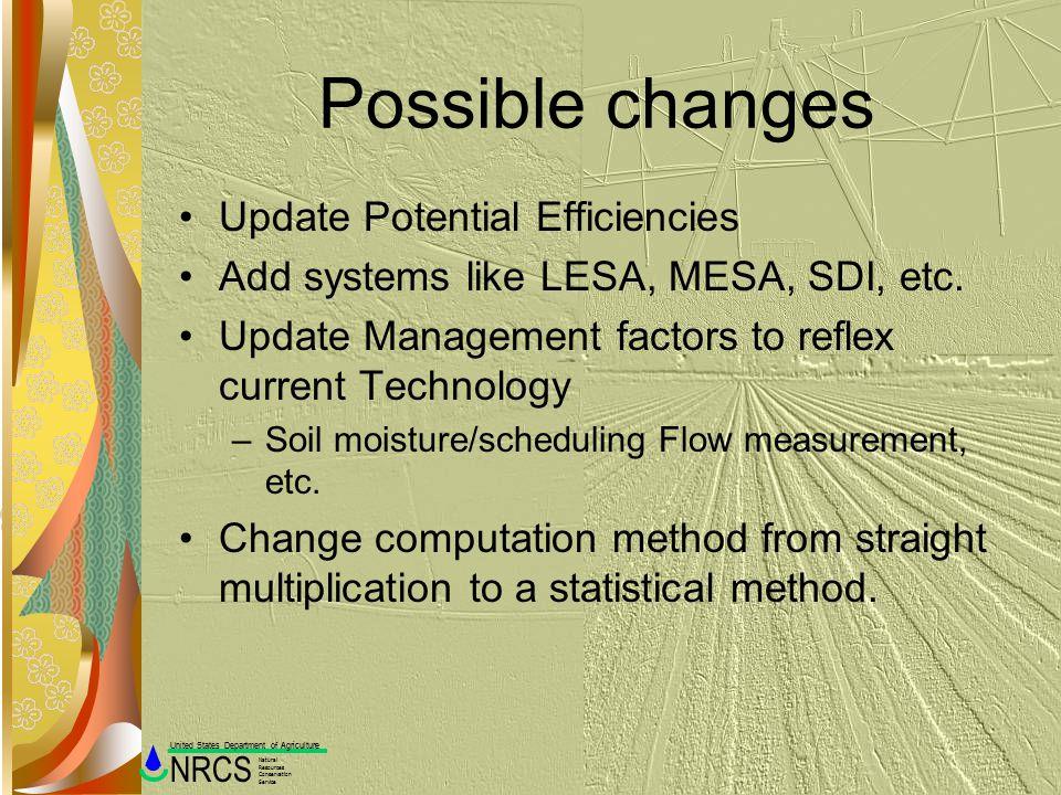 Possible changes Update Potential Efficiencies