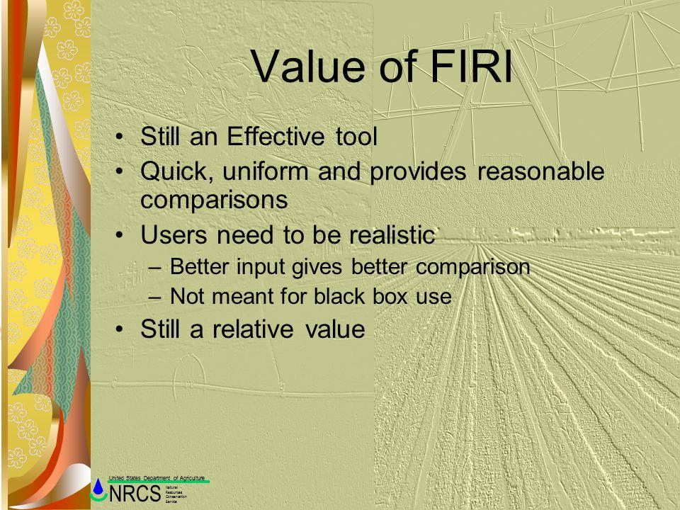 Value of FIRI Still an Effective tool
