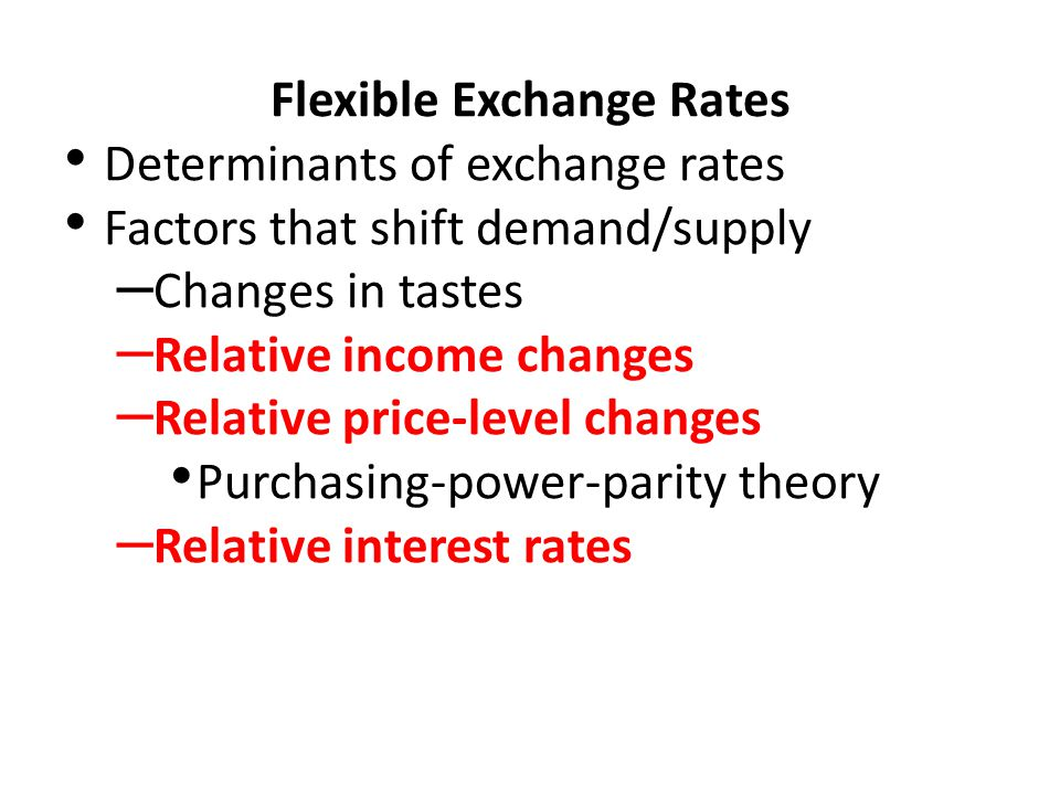 the various determinants of exchange rates Chapter i foreign exchange markets  when we price exchange rates,  what are the determinants of currency supply and demand in the foreign exchange.