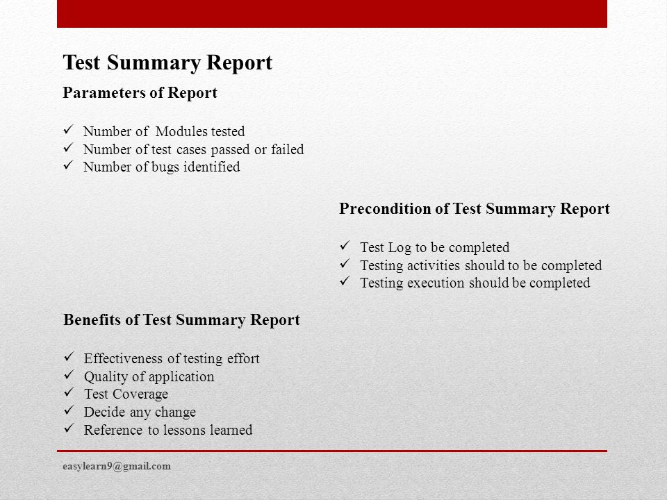 Test Summary Report Parameters of Report