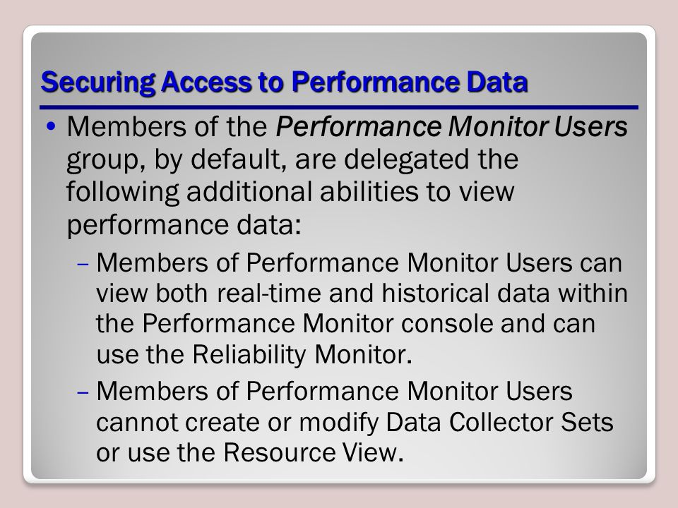 Securing Access to Performance Data