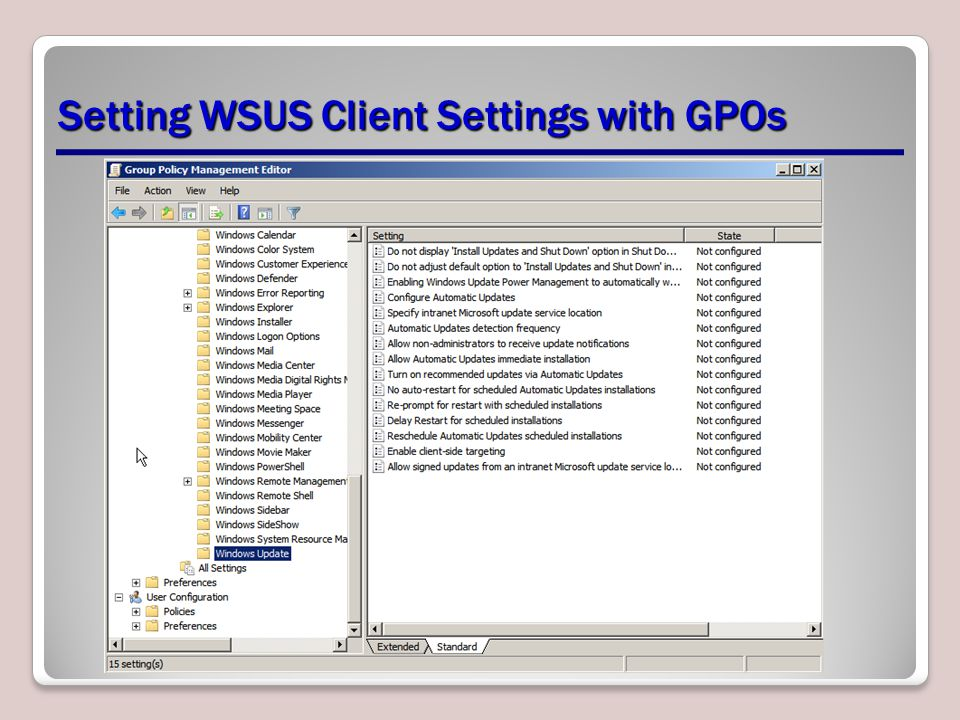 Setting WSUS Client Settings with GPOs