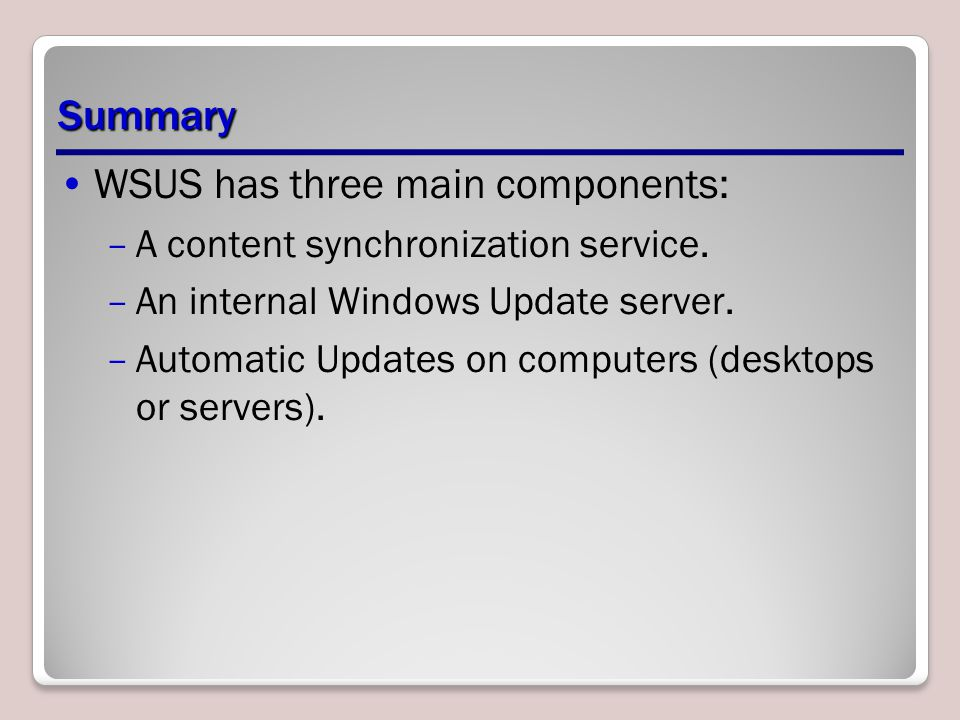 WSUS has three main components: