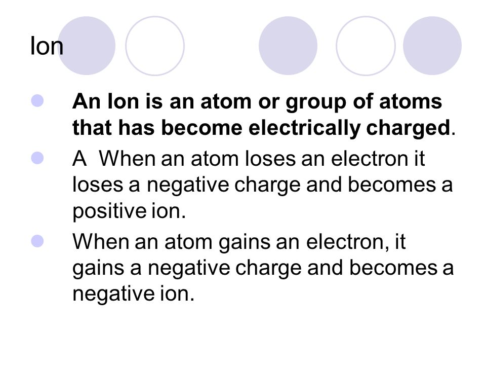 Ion An Ion is an atom or group of atoms that has become electrically charged.
