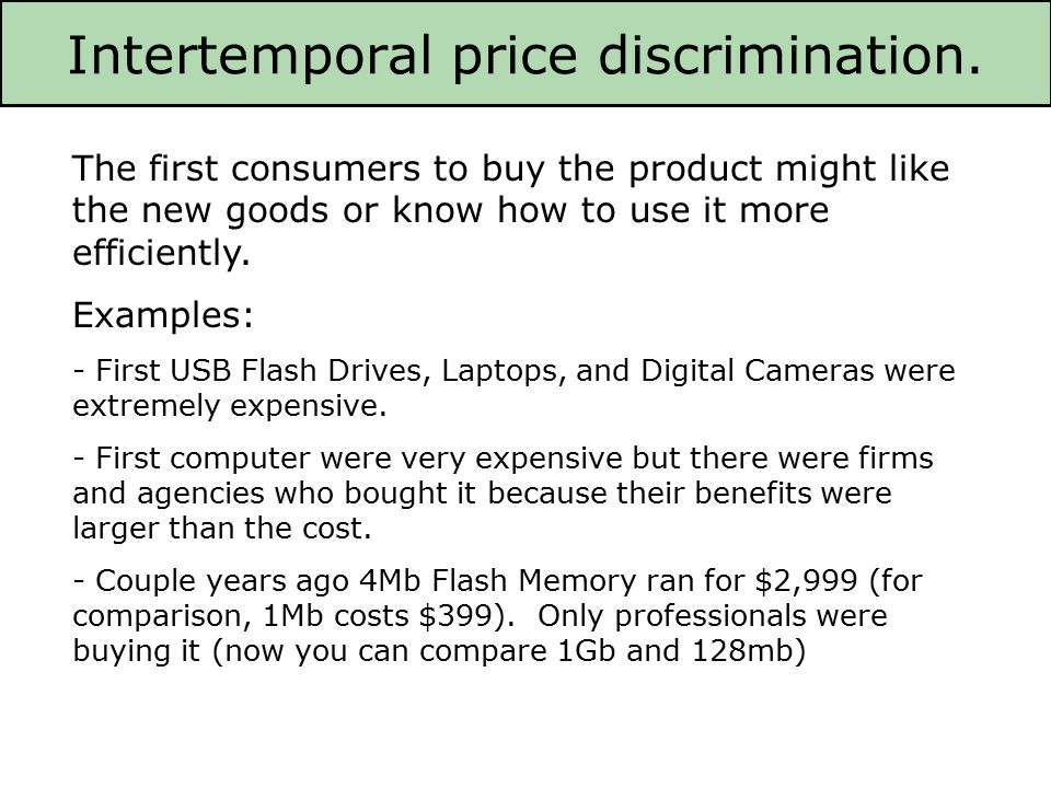 a comparison of the different degrees of price discrimination First, second and third degree price discrimination exist and apply to different pricing methods used by companies the comparison of three authors can be seen in the table.