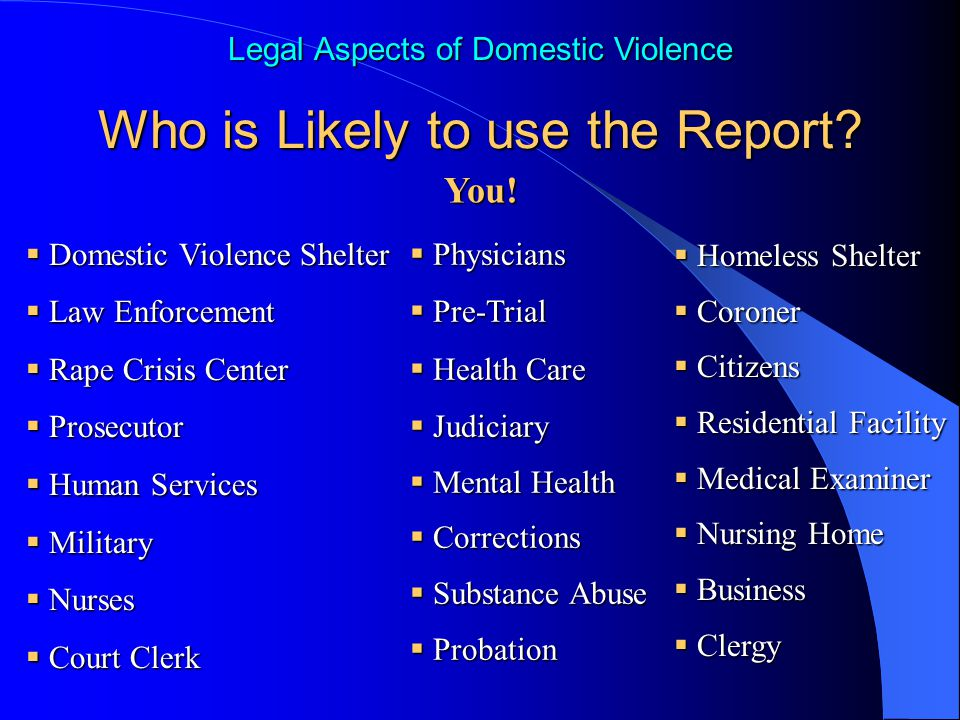 a report on domestic violence in the healthcare setting Healthcare environment john wilgis  policies mandating the reporting of real  or perceived  behaviors related to domestic violence 10.