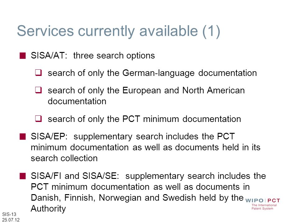 Services currently available (1)