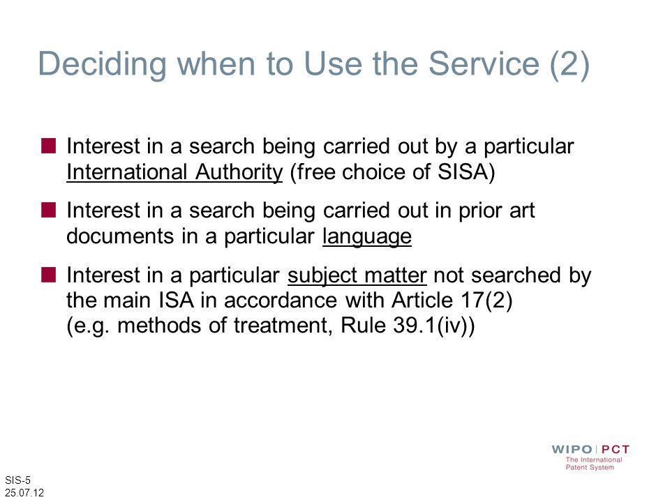 Deciding when to Use the Service (2)