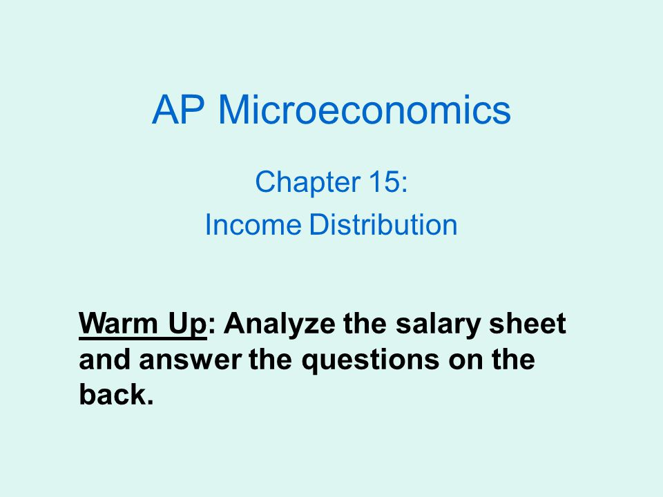 Chapter 15: Income Distribution - ppt video online download