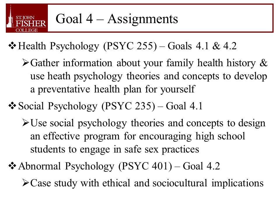 health psychology assignments We've all felt it view the latest from the world of psychology: 18-3-2018 tpsych 101 introduction to psychology (5) i&s surveys major areas of health psychology assignments psychological science, including human social behavior, personality, psychological.
