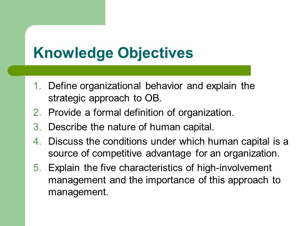 the definition of organizational behavior Organizational behavior is the study and application of knowledge about how people, individuals, and groups act in organizations it does this by taking a system approach that is, it interprets people-organization relationships in terms of the whole person, whole group, the whole organization, and whole social system.