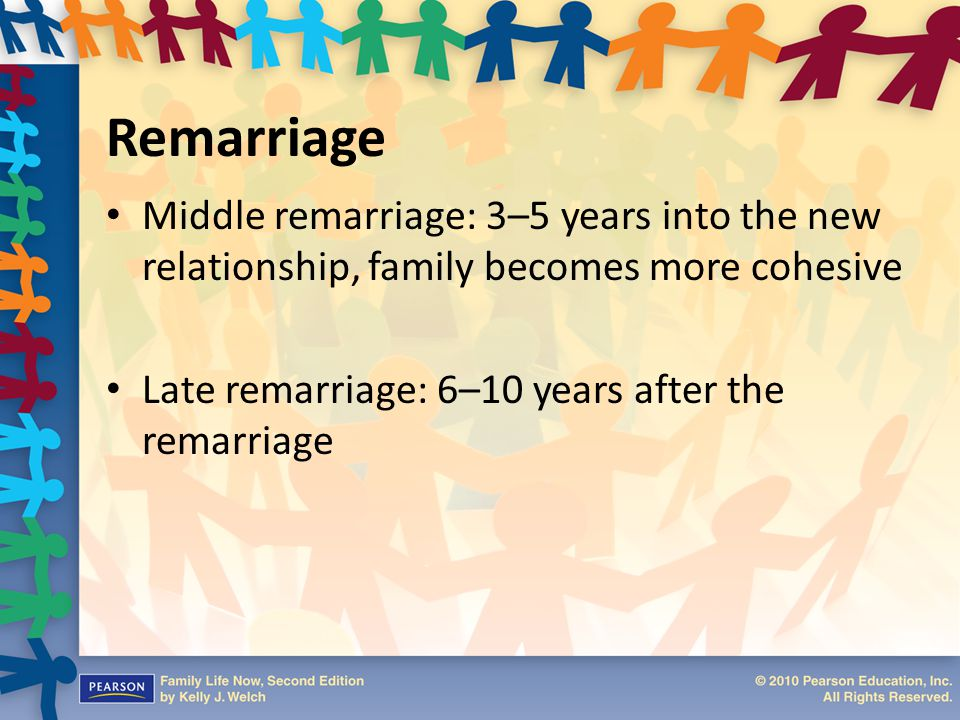 Remarriage Middle remarriage: 3–5 years into the new relationship, family becomes more cohesive.