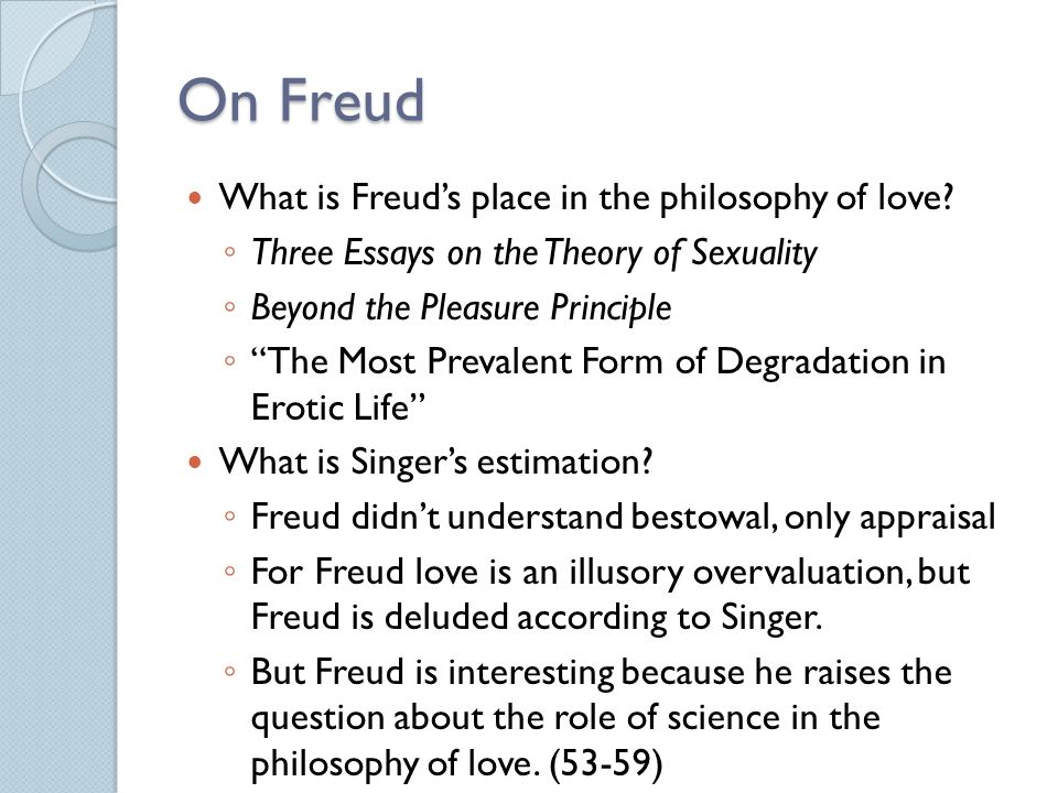 On Freud What is Freud's place in the philosophy of love
