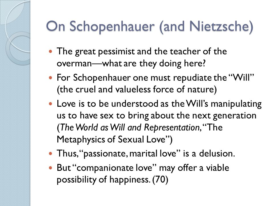 On Schopenhauer (and Nietzsche)