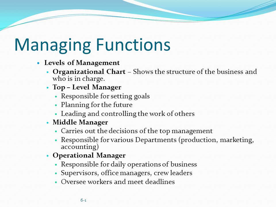 top level management functions Providing daily guidance for groups or teams of individuals to achieve specific functions or tasks in support of an management skills pyramid, top level:.