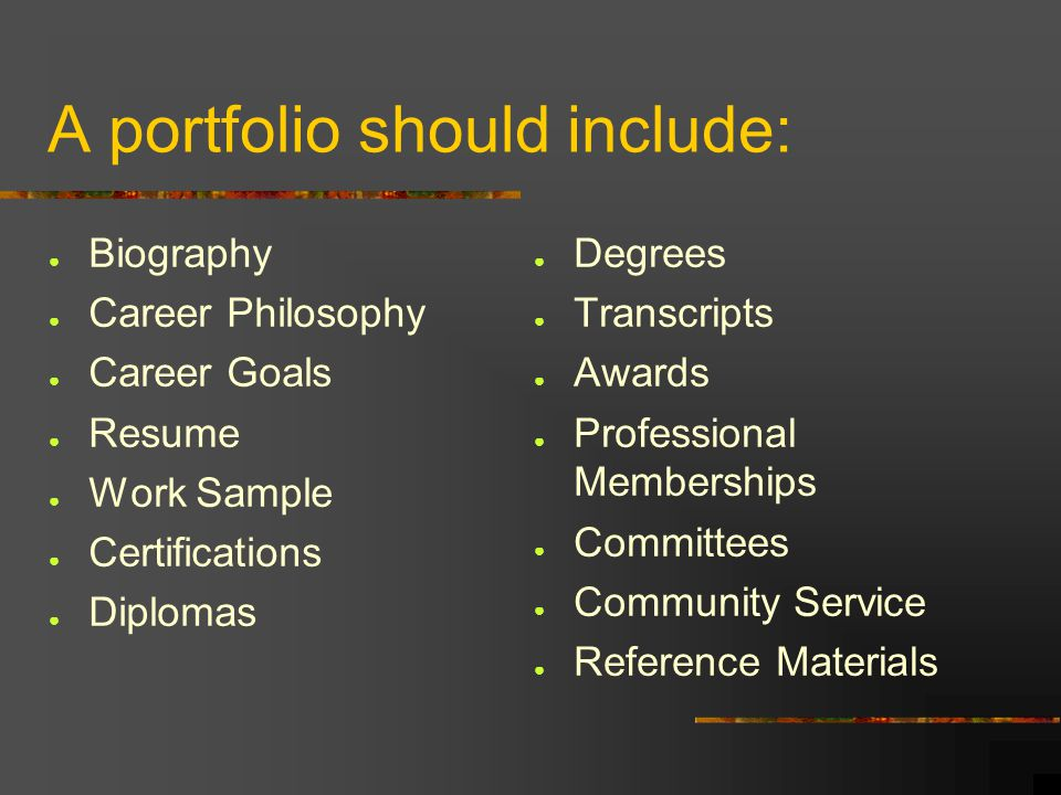 how to create a career portfolio