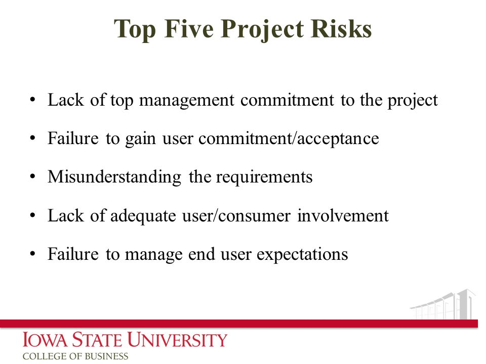 Top Five Project Risks Lack of top management commitment to the project. Failure to gain user commitment/acceptance.